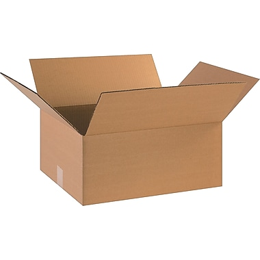 18in.(L) x 14in.(W) x 8in.(H)- Staples Corrugated Shipping Boxes, 20/Bundle