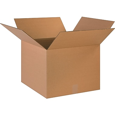 18in.(L) x 18in.(W) x 14in.(H)- Staples Corrugated Shipping Boxes, 20/Bundle