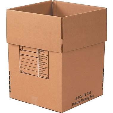 18in.(L) x 18in.(W) x 24in.(H)- Staples Deluxe Moving Boxes, 15/Bundle
