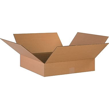 18in.(L) x 18in.(W) x 4in.(H)- Staples Corrugated Shipping Boxes, 25/Bundle
