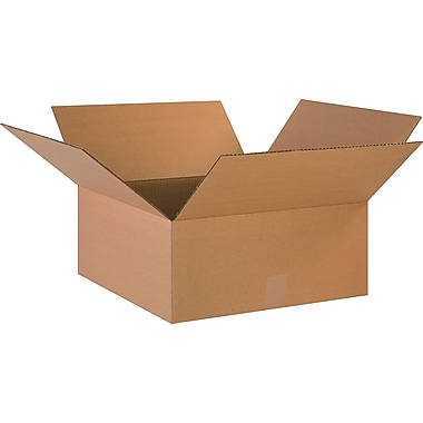 18in.(L) x 18in.(W) x 8in.(H)- Staples Corrugated Shipping Boxes, 25/Bundle
