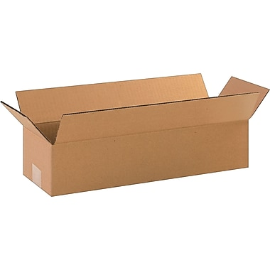 18in.(L) x 6in.(W) x 4in.(H)- Staples Corrugated Shipping Boxes, 25/Bundle