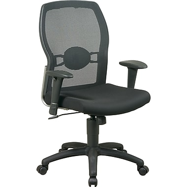 Office Star Mid-Back Mesh Manager's Chair, Adjustable Arms, Black