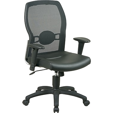 Office Star Mid-Back Leather Manager's Chair, Adjustable Arms, Black