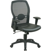 Office Star™ Mid-Back Mesh/Leather Manager's Chair, Black
