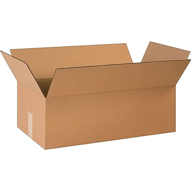 24in.(L) x 10in.(W) x 4in.(H) - Staples® Corrugated Shipping Boxes, 25/Bundle