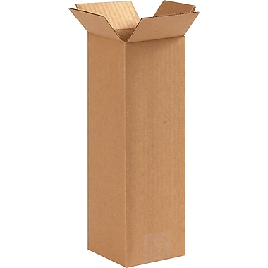 4in.(L) x 4in.(W) x 12in.(H) - Staples Corrugated Shipping Boxes, 25/Bundle