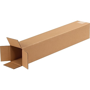 4in.(L) x 4in.(W) x 24in.(H) - Staples Corrugated Shipping Boxes, 25/Bundle