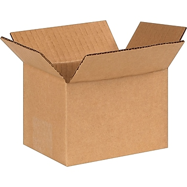 6in.(L) x 4in.(W) x 4in.(H) - Staples Corrugated Shipping Boxes, 25/Bundle