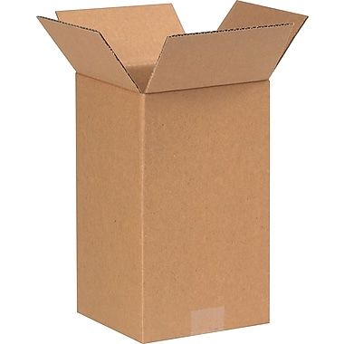 7in.(L) x 7in.(W) x 12in.(H) - Staples Corrugated Shipping Boxes, 25/Bundle