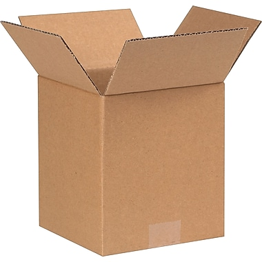 7in.(L) x 7in.(W) x 8in.(H) - Staples Corrugated Shipping Boxes, 25/Bundle