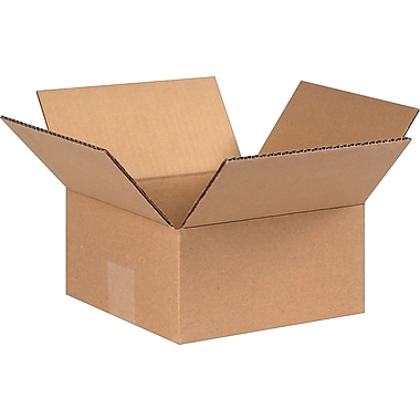 8in.(L) x 8in.(W) x 4in.(H) - Staples Corrugated Shipping Boxes, 25/Bundle