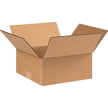 9in.(L) x 9in.(W) x 4in.(H) - Staples Corrugated Shipping Boxes, 25/Bundle