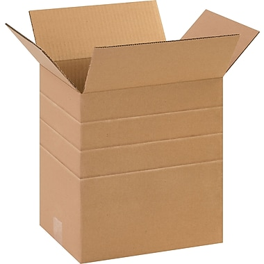 11-1/4in.(L) x 8-3/4in.(W) x 12in.(H)- Staples Multi-Depth Corrugated Shipping Boxes, 25/Bundle