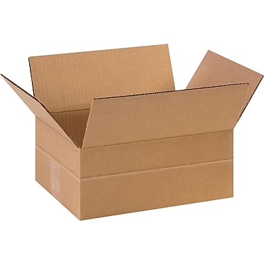 11-3/4in.(L) x 8-3/4in.(W) x 4-3/4in.(H)- Staples Multi-Depth Corrugated Shipping Boxes, 25/Bundle
