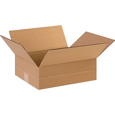 12in.(L) x 10in.(W) x 4in.(H)- Staples Multi-Depth Corrugated Shipping Boxes, 25/Bundle