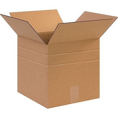 12in.(L) x 9in.(W) x 6in.(H)- Staples® Multi-Depth Corrugated Shipping Boxes, 25/Bundle