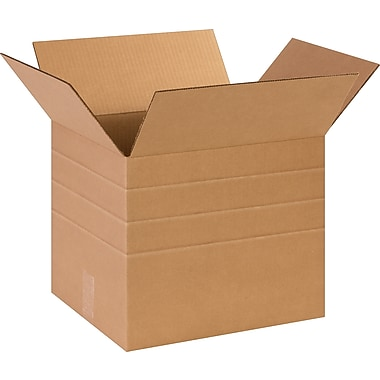 20in.(L) x 20in.(W) x 20in.(H)- Staples® Multi-Depth Corrugated Shipping Boxes, 10/Bundle