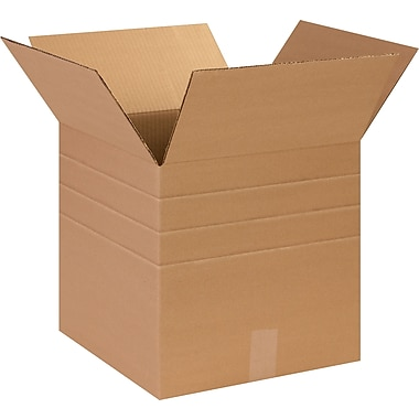 14in.(L) x 14in.(W) x 14in.(H) - Staples Multi-Depth Corrugated Shipping Boxes, 25/Bundle
