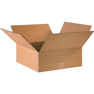 12.5in.(L) x 12.5in.(W) x 6in.(H)- Staples® Multi-Depth Corrugated Shipping Boxes, 25/Bundle