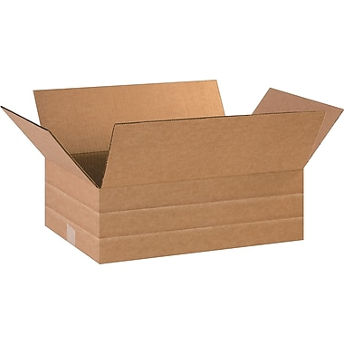 16in.(L) x 12in.(W) x 6in.(H)- Staples® Multi-Depth Corrugated Shipping Boxes, 25/Bundle