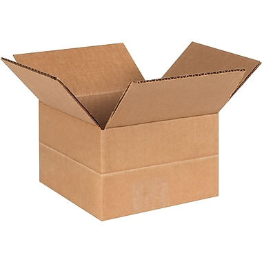 6in.(L) x 6in.(W) x 4in.(H)- Staples Multi-Depth Corrugated Shipping Boxes, 25/Bundle