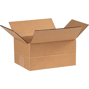 8in.(L) x 6in.(W) x 4in.(H)- Staples Multi-Depth Corrugated Shipping Boxes, 25/Bundle