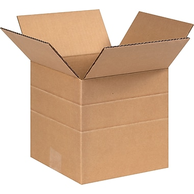 8in.(L) x 8in.(W) x 8in.(H)- Staples Multi-Depth Corrugated Shipping Boxes, 25/Bundle
