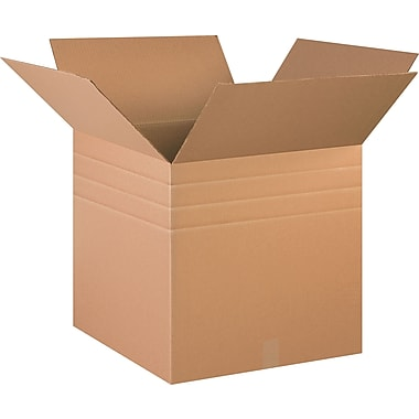 20in.(L) x 20in.(W) x 20in.(H) - Staples Heavy-Duty Multi-Depth Corrugated Shipping Boxes, 10/Bundle