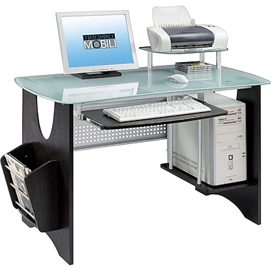 Techni Mobili RTA-3325 Glass-Top Computer Desk, Espresso