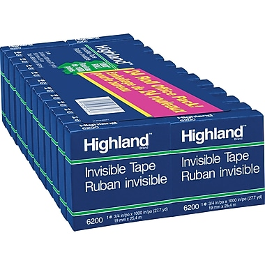 Highland Invisible Tape, Boxed, 19 mm x 25.4 m, 24/Pack