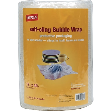 Staples® Self-Cling Bubble Wrap®, 12in. x 40'