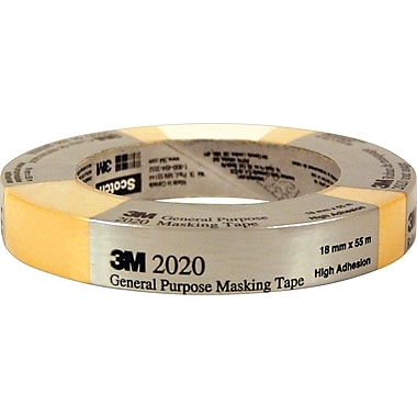 3M™ 2020 General-Purpose Masking Tape, 18 mm x 55 m