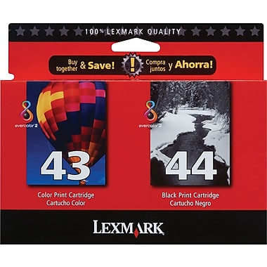 Lexmark 43XL/44XL Black and Color Ink Cartridges (18Y0372), High Yield 2/Pack