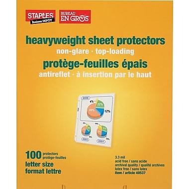 Staples® - Protège-feuilles épais antireflet, incolores, paq./100