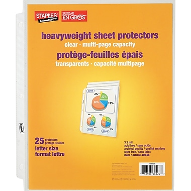 Staples® Clear Multi-Page Capacity Sheet Protectors, 25-Pack