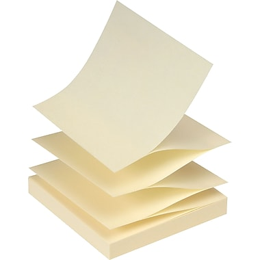 Staples® Stickies™ 3 x 3 Recycled Yellow Pop-Up Notes, 12/Pack