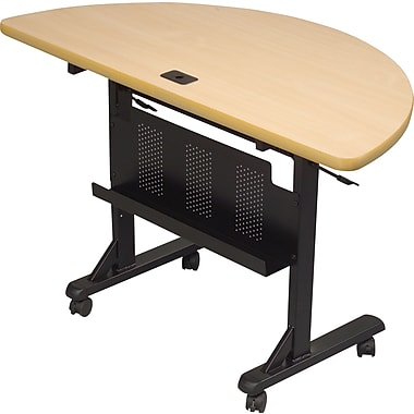 Balt 4' Half Round Laminate Flipper Training Table, Teak