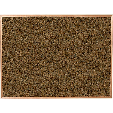 Best-Rite® 4' x 4' Blue Splash Cork Bulletin Board with Oak Finish Frame
