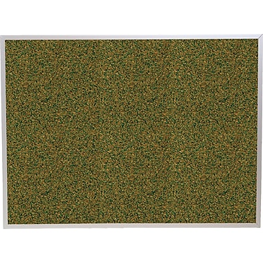 Best-Rite Green Splash Cork Bulletin Board, Aluminum Trim Frame, 4' x 3'