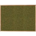 Best-Rite® 4' x 4' Green Splash Cork Bulletin Board with Oak Finish Frame