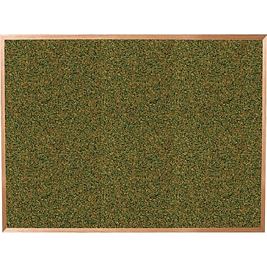Best-Rite Green Splash Cork Bulletin Board, Oak Finish Frame, 6' x 4'