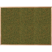 Best-Rite Green Splash Cork Bulletin Board, Oak Finish Frame, 12' x 4'