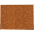 Best-Rite Red Splash Cork Bulletin Board, Oak Finish Frame, 6' x 4'