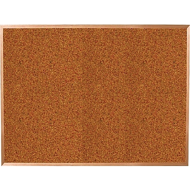 Best-Rite® 4' x 4' Red Splash Cork Bulletin Board with Oak Finish Frame