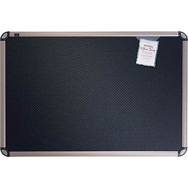 Quartet® 2' x 1-1/2' Euro™ Prestige® Black Embossed Foam Bulletin Board with Titanium Finish Frames