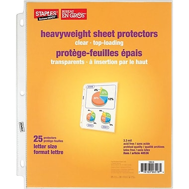 Staples® Clear Heavyweight Sheet Protectors, 25-Pack
