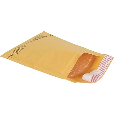 Staples® Self-Seal #0 Bubble Mailers, Kraft, 5-7/8