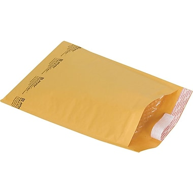 Staples® Self-Seal #4 Bubble Mailers, Kraft, 9-3/8