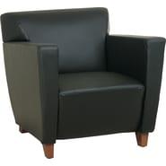 Office Star SL8471 Wood Club Chair, Black